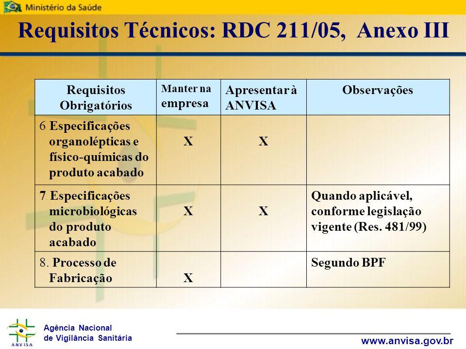 Agência Nacional de Vigilância Sanitária www.anvisa.gov.br Requisitos Técnicos: RDC 211/05, Anexo III Requisitos Obrigatórios Manter na empresa Apresentar à ANVISA Observações 9.