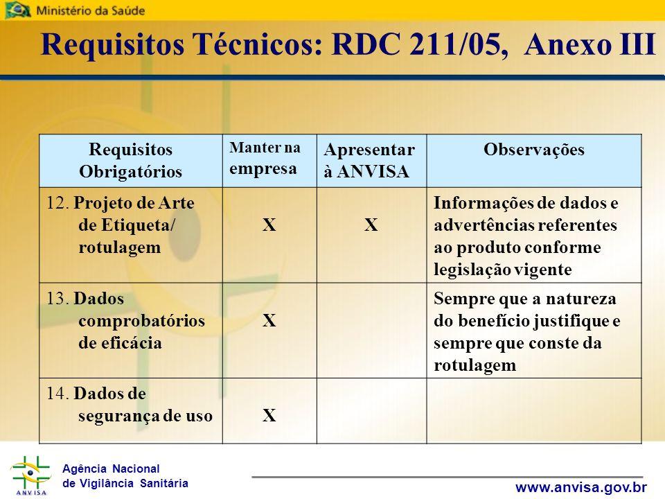 Agência Nacional de Vigilância Sanitária www.anvisa.gov.br Requisitos Técnicos: RDC 211/05, Anexo III Requisitos Obrigatórios Manter na empresa Apresentar à ANVISA Observações 15.