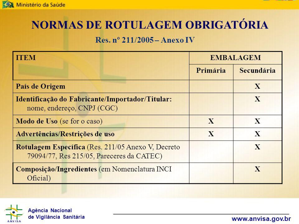 Agência Nacional de Vigilância Sanitária www.anvisa.gov.br NORMAS DE ROTULAGEM OBRIGATÓRIA Res. nº 211/2005 – Anexo IV ITEMEMBALAGEM PrimáriaSecundári