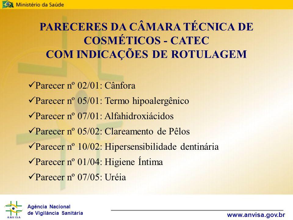 Agência Nacional de Vigilância Sanitária www.anvisa.gov.br Parecer nº 02/01: Cânfora Parecer nº 05/01: Termo hipoalergênico Parecer nº 07/01: Alfahidr