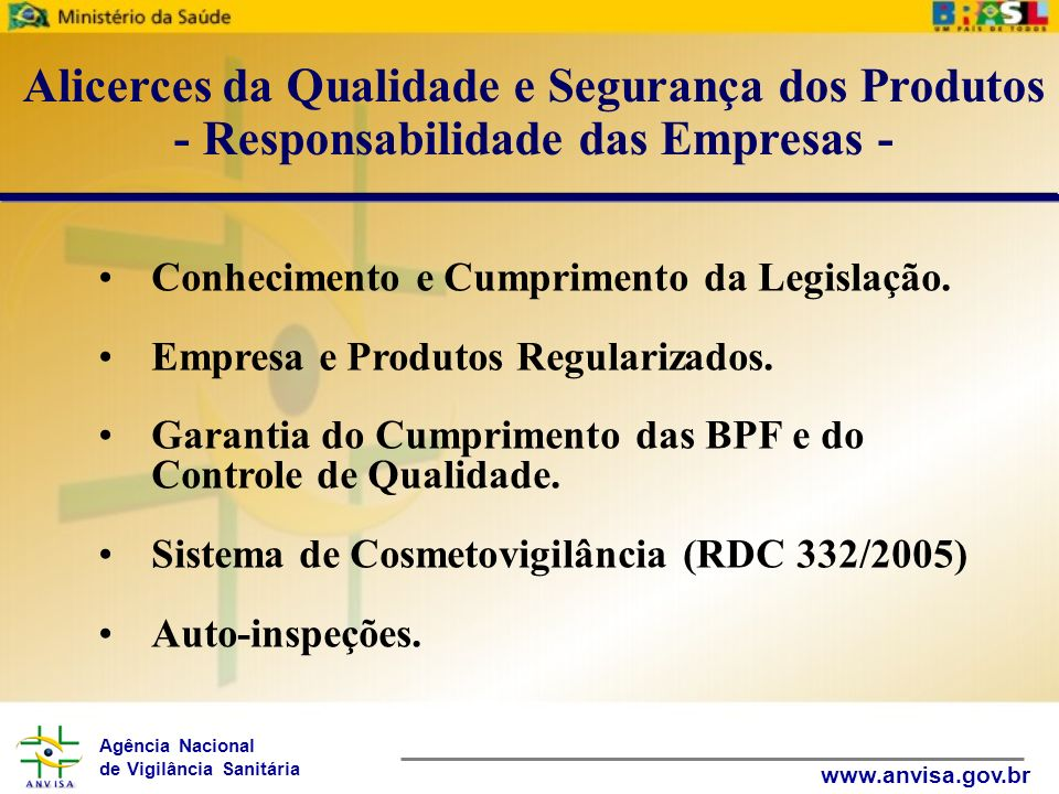 Agência Nacional de Vigilância Sanitária www.anvisa.gov.br Conhecimento e Cumprimento da Legislação. Empresa e Produtos Regularizados. Garantia do Cum