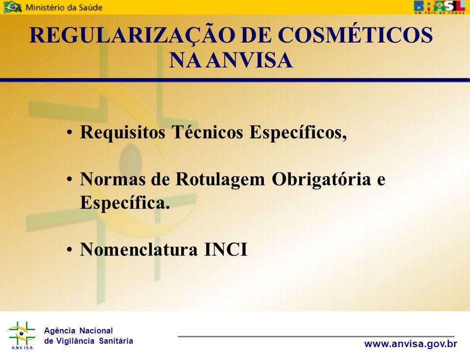Agência Nacional de Vigilância Sanitária www.anvisa.gov.br Requisitos Técnicos Específicos, Normas de Rotulagem Obrigatória e Específica. Nomenclatura