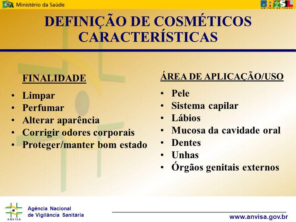 Agência Nacional de Vigilância Sanitária www.anvisa.gov.br CLASSIFICAÇÃO DE PRODUTOS COSMÉTICOS Categoria: 1.