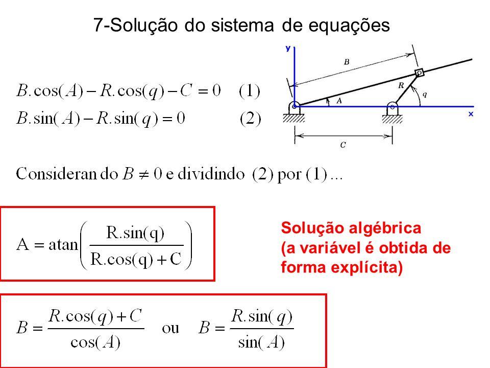 7-Solução do sistema de equações Solução algébrica (a variável é obtida de forma explícita)