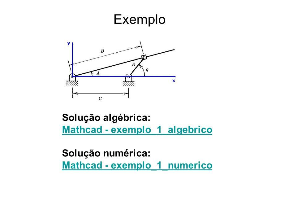 Exemplo Solução algébrica: Mathcad - exemplo_1_algebrico Solução numérica: Mathcad - exemplo_1_numerico