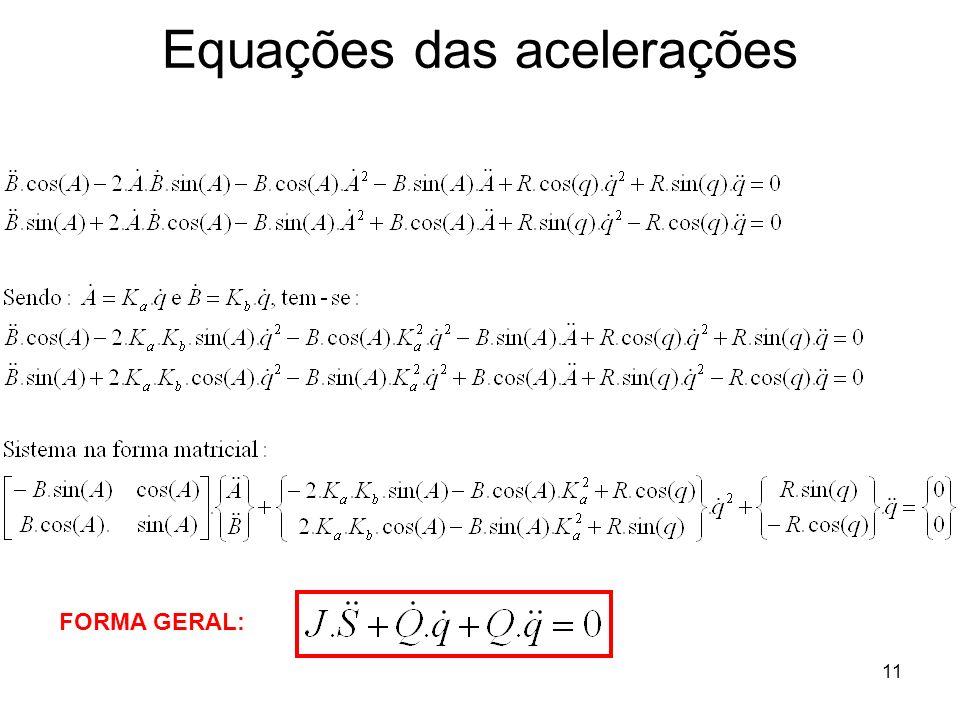 11 Equações das acelerações FORMA GERAL: