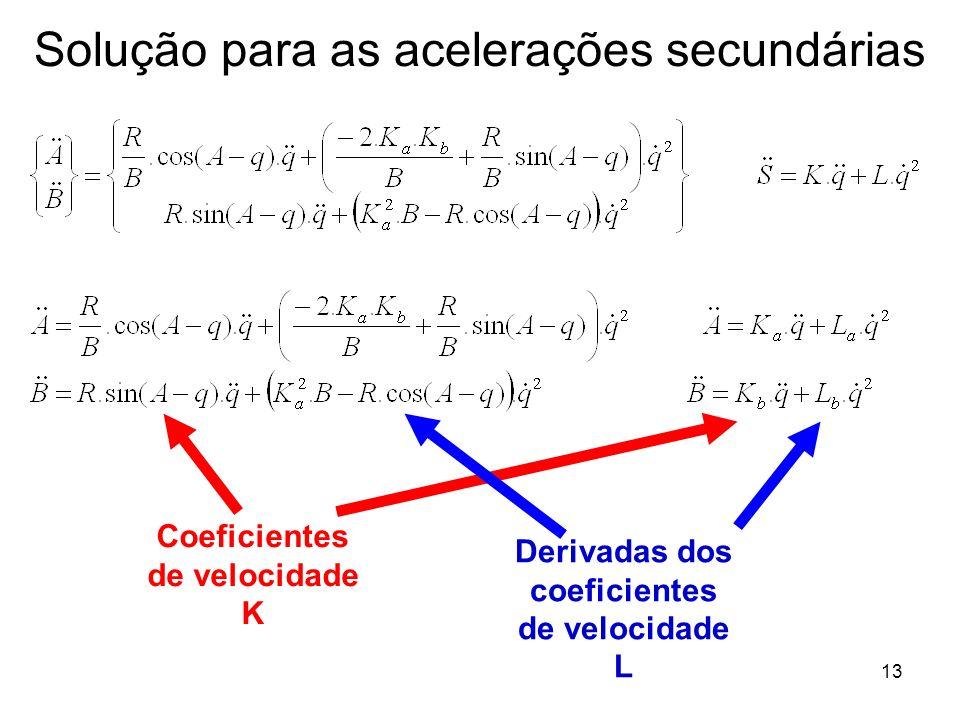 13 Solução para as acelerações secundárias Coeficientes de velocidade K Derivadas dos coeficientes de velocidade L