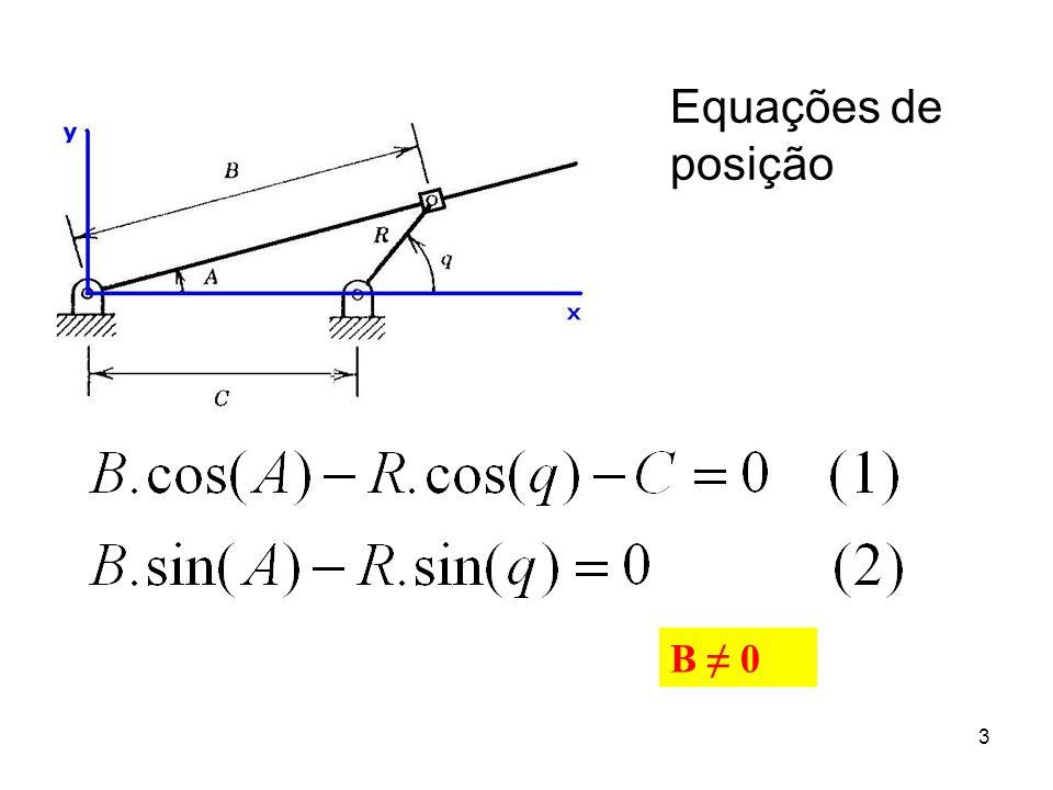 4 Equações de velocidade Obtidas através das derivadas das equações de posição em relação ao tempo: Equações cinemáticas de posição: Derivando em ralação ao tempo: