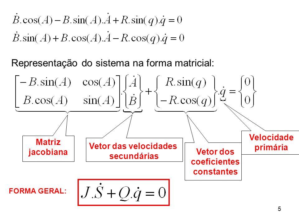 5 Representação do sistema na forma matricial: Matriz jacobiana Vetor das velocidades secundárias Vetor dos coeficientes constantes Velocidade primári