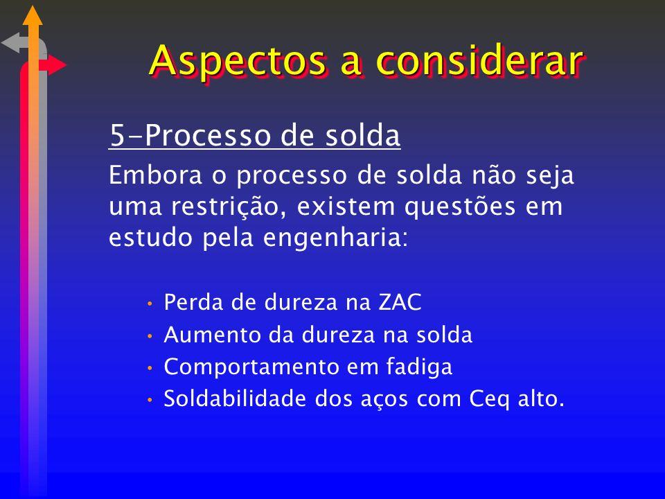5-Processo de solda Embora o processo de solda não seja uma restrição, existem questões em estudo pela engenharia: Perda de dureza na ZAC Aumento da d