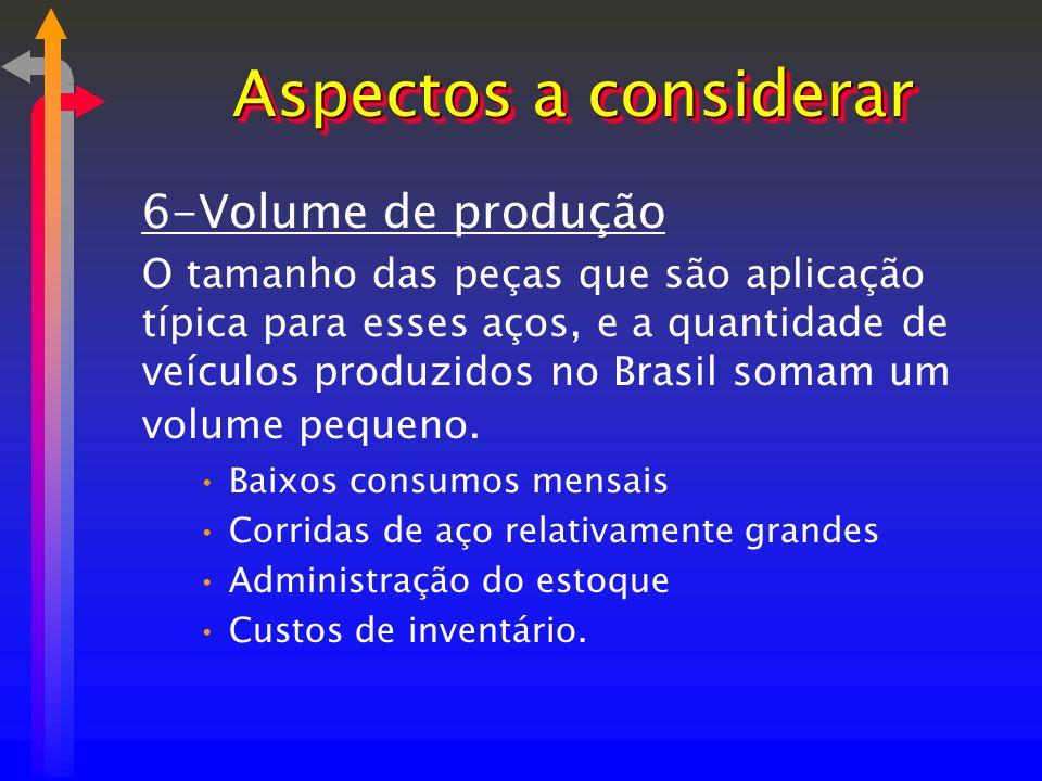 6-Volume de produção O tamanho das peças que são aplicação típica para esses aços, e a quantidade de veículos produzidos no Brasil somam um volume peq