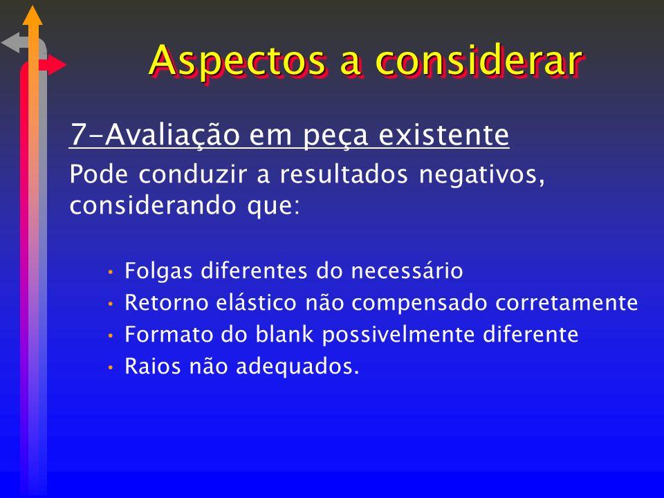 7-Avaliação em peça existente Pode conduzir a resultados negativos, considerando que: Folgas diferentes do necessário Retorno elástico não compensado