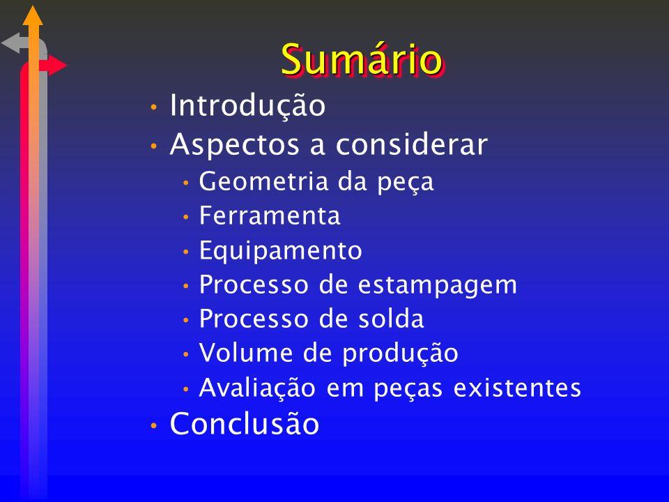 SumárioSumário Introdução Aspectos a considerar Geometria da peça Ferramenta Equipamento Processo de estampagem Processo de solda Volume de produção A