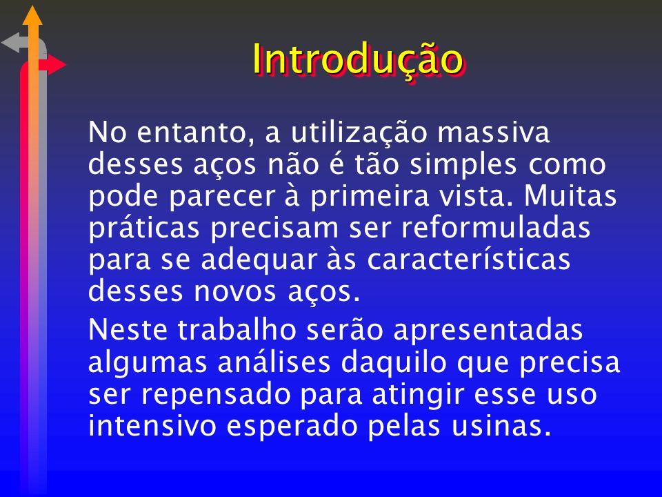 IntroduçãoIntrodução No entanto, a utilização massiva desses aços não é tão simples como pode parecer à primeira vista. Muitas práticas precisam ser r