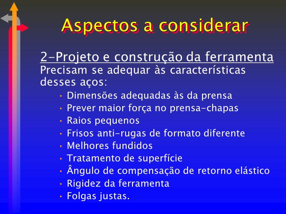 2-Projeto e construção da ferramenta Precisam se adequar às características desses aços: Dimensões adequadas às da prensa Prever maior força no prensa