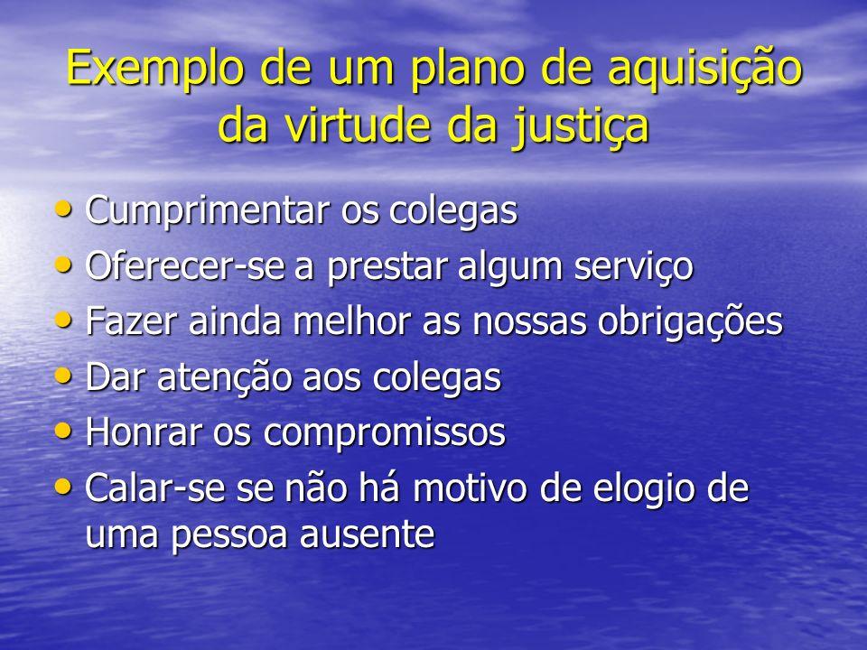 Exemplo de um plano de aquisição da virtude da justiça Cumprimentar os colegas Cumprimentar os colegas Oferecer-se a prestar algum serviço Oferecer-se