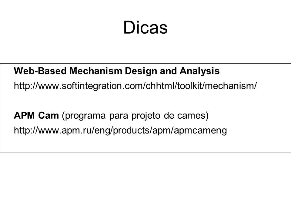 Dicas Web-Based Mechanism Design and Analysis http://www.softintegration.com/chhtml/toolkit/mechanism/ APM Cam (programa para projeto de cames) http:/