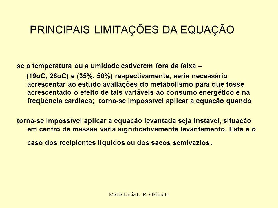 Maria Lucia L. R. Okimoto PRINCIPAIS LIMITAÇÕES DA EQUAÇÃO se a temperatura ou a umidade estiverem fora da faixa – (19oC, 26oC) e (35%, 50%) respectiv