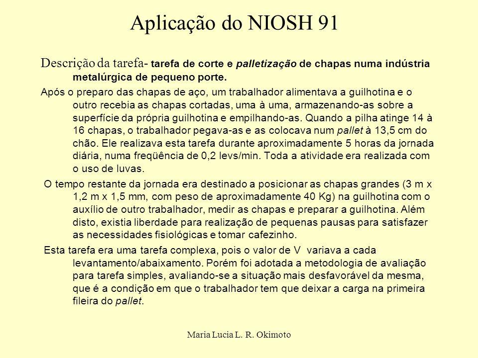 Maria Lucia L. R. Okimoto Aplicação do NIOSH 91 Descrição da tarefa- tarefa de corte e palletização de chapas numa indústria metalúrgica de pequeno po