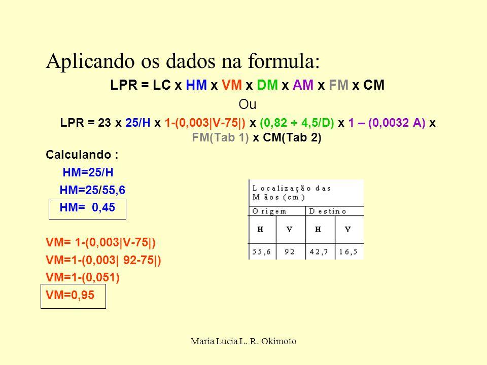 Maria Lucia L. R. Okimoto Aplicando os dados na formula: LPR = LC x HM x VM x DM x AM x FM x CM Ou LPR = 23 x 25/H x 1-(0,003|V-75|) x (0,82 + 4,5/D)