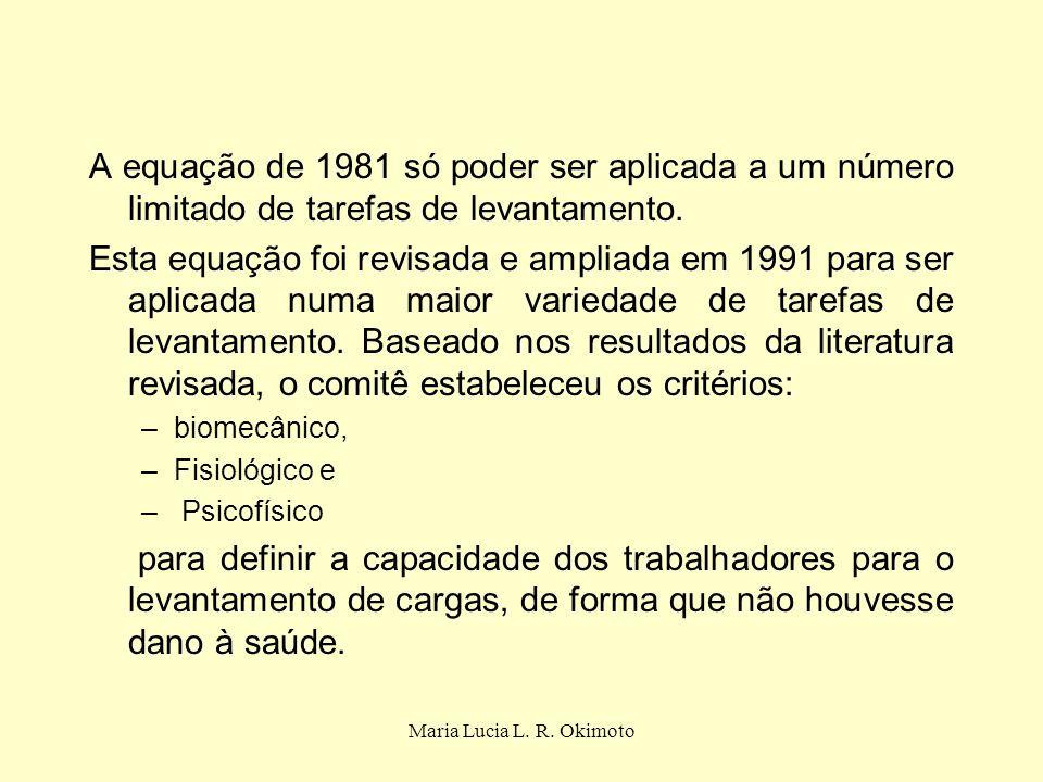 Maria Lucia L. R. Okimoto A equação de 1981 só poder ser aplicada a um número limitado de tarefas de levantamento. Esta equação foi revisada e ampliad
