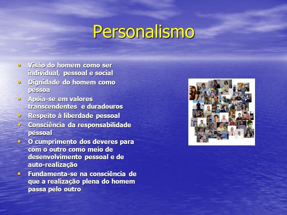 Personalismo Visão do homem como ser individual, pessoal e social Visão do homem como ser individual, pessoal e social Dignidade do homem como pessoa