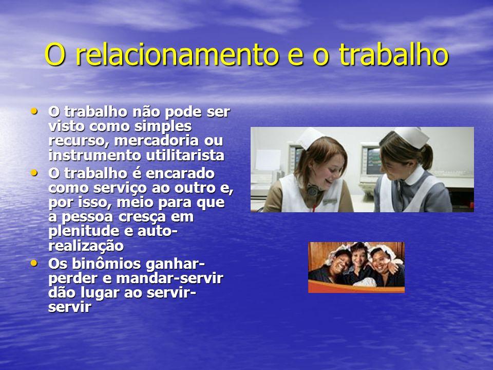 O relacionamento e o trabalho O trabalho não pode ser visto como simples recurso, mercadoria ou instrumento utilitarista O trabalho não pode ser visto