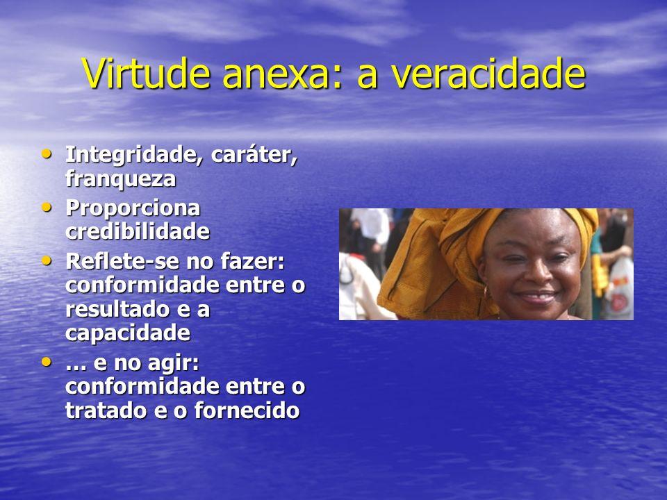 Virtude anexa: a veracidade Integridade, caráter, franqueza Integridade, caráter, franqueza Proporciona credibilidade Proporciona credibilidade Reflet