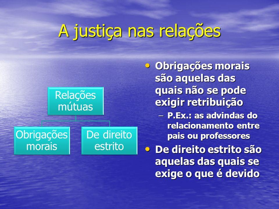 A justiça nas relações Relações mútuas Obrigações morais De direito estrito Obrigações morais são aquelas das quais não se pode exigir retribuição Obr