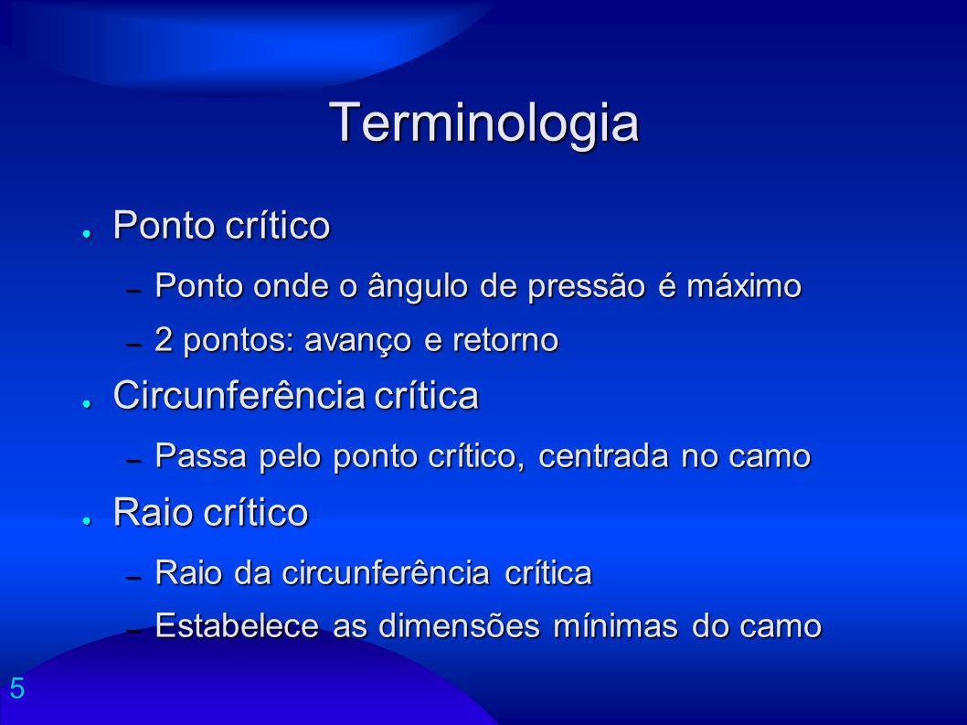 5 Terminologia Ponto crítico Ponto crítico – Ponto onde o ângulo de pressão é máximo – 2 pontos: avanço e retorno Circunferência crítica Circunferênci