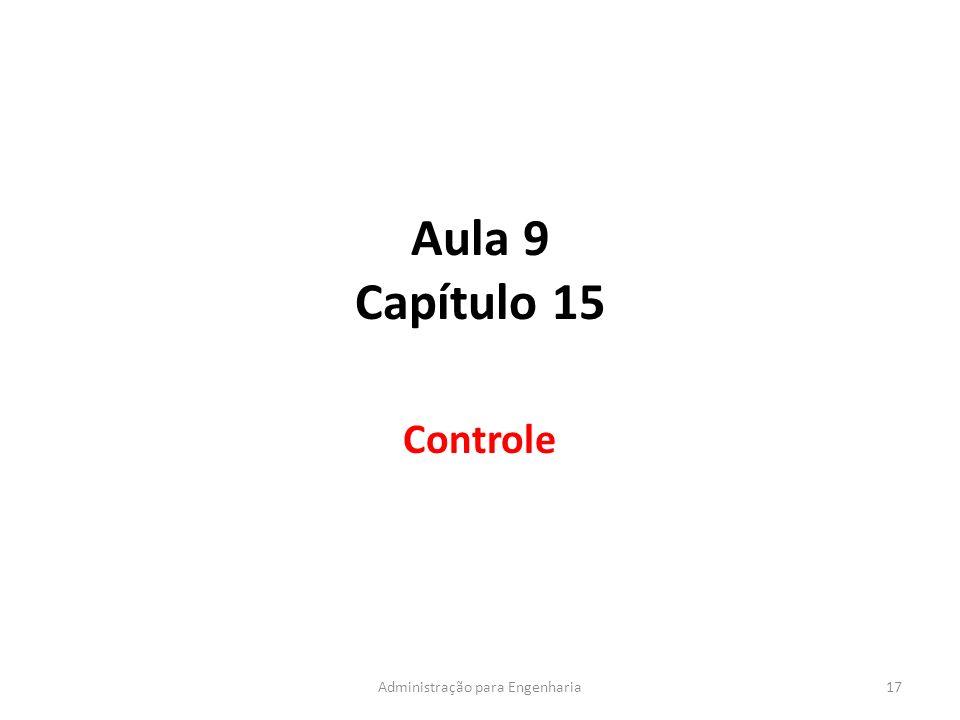 Aula 9 Capítulo 15 Controle 17Administração para Engenharia