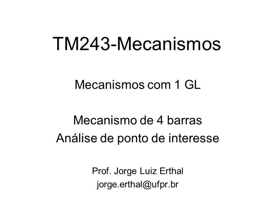 TM243-Mecanismos Mecanismos com 1 GL Mecanismo de 4 barras Análise de ponto de interesse Prof. Jorge Luiz Erthal jorge.erthal@ufpr.br