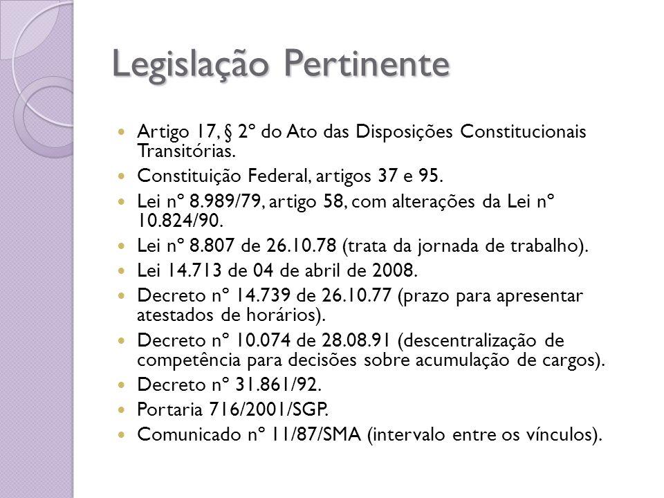Legislação Pertinente Artigo 17, § 2º do Ato das Disposições Constitucionais Transitórias. Constituição Federal, artigos 37 e 95. Lei nº 8.989/79, art
