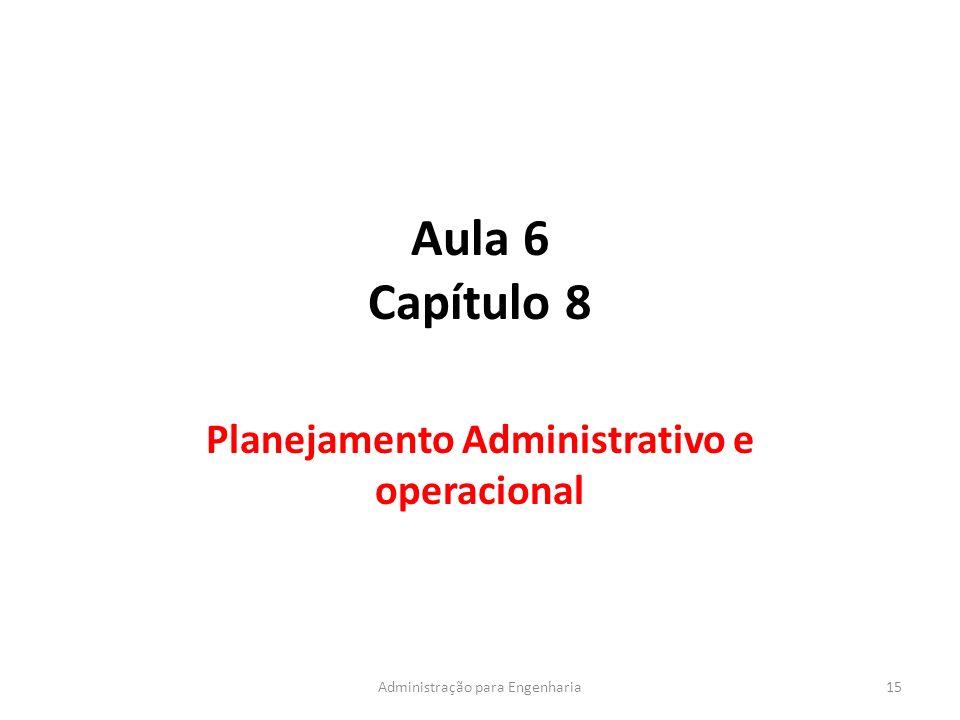 Aula 6 Capítulo 8 Planejamento Administrativo e operacional 15Administração para Engenharia