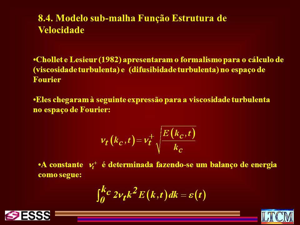 8.4. Modelo sub-malha Função Estrutura de Velocidade Chollet e Lesieur (1982) apresentaram o formalismo para o cálculo de (viscosidade turbulenta) e (