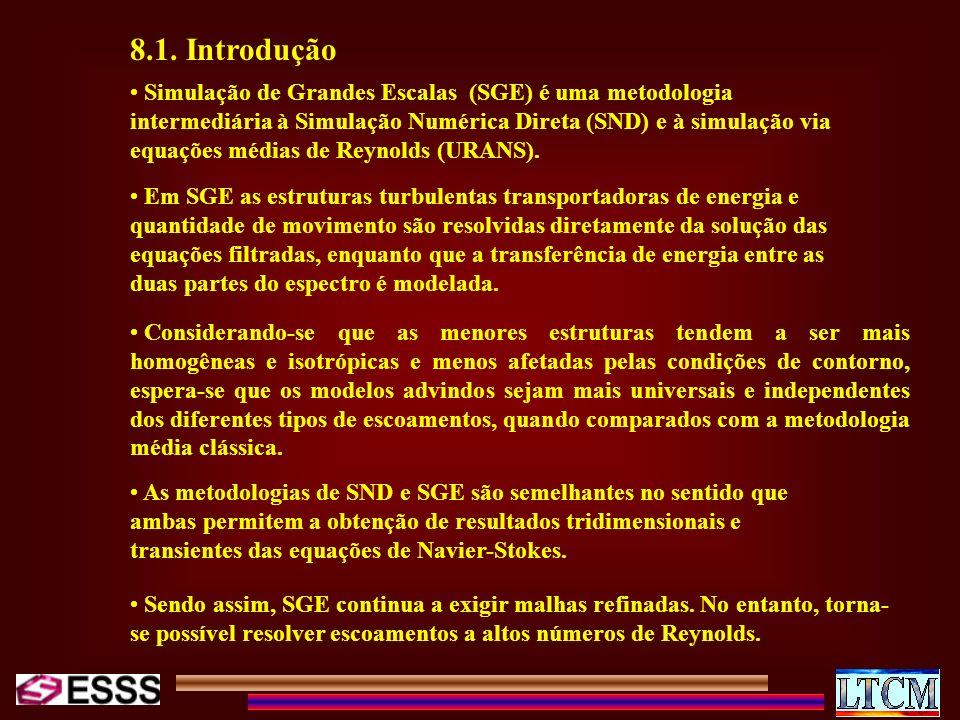 Simulação de Grandes Escalas (SGE) é uma metodologia intermediária à Simulação Numérica Direta (SND) e à simulação via equações médias de Reynolds (UR