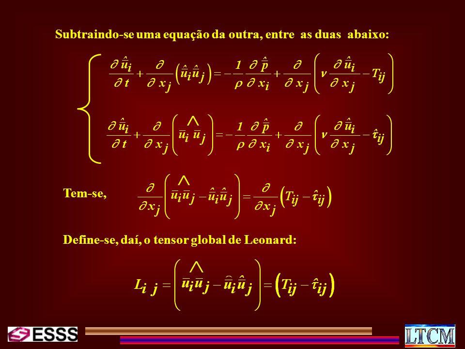 Subtraindo-se uma equação da outra, entre as duas abaixo: Tem-se, Define-se, daí, o tensor global de Leonard: