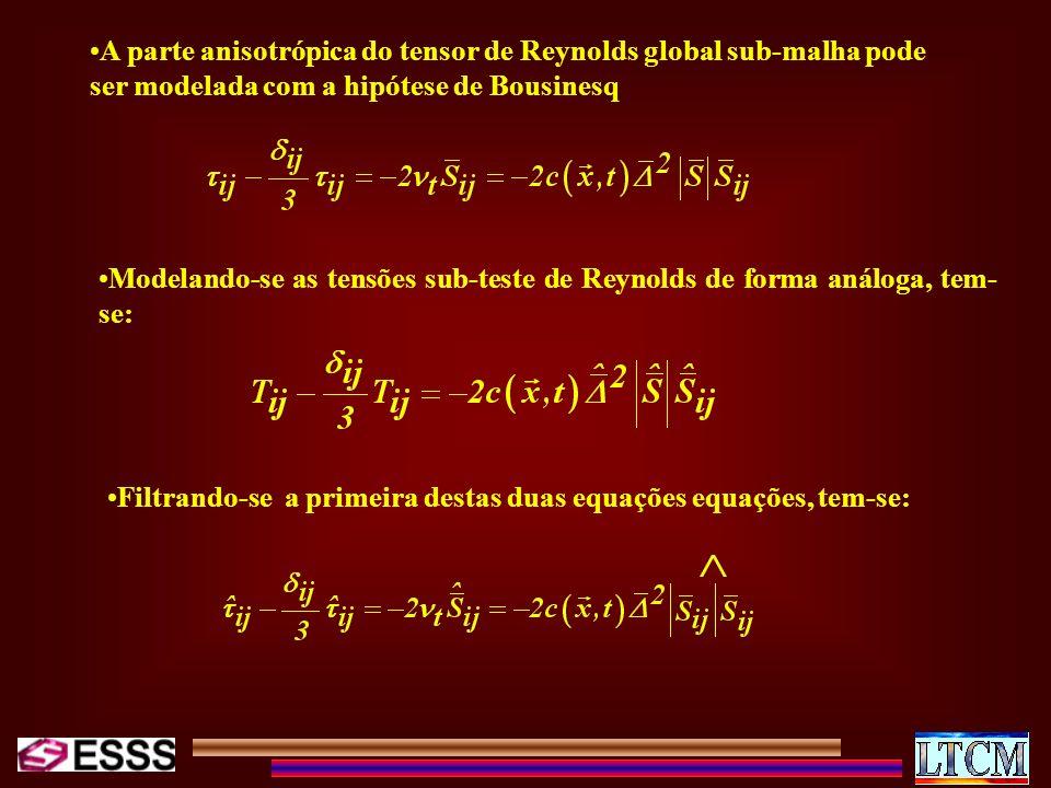 A parte anisotrópica do tensor de Reynolds global sub-malha pode ser modelada com a hipótese de Bousinesq Modelando-se as tensões sub-teste de Reynold