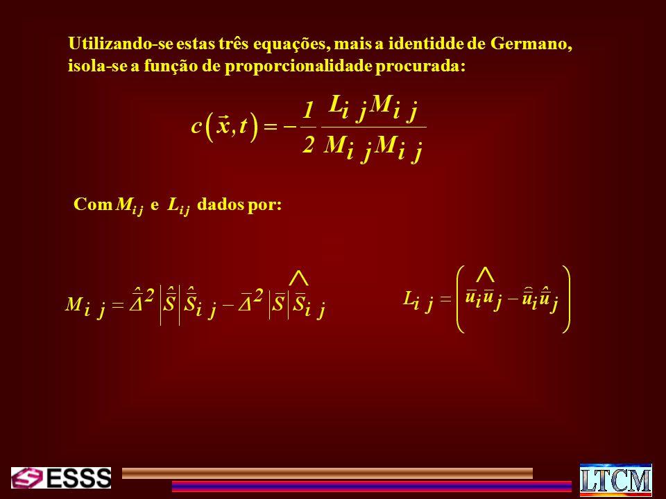 Utilizando-se estas três equações, mais a identidde de Germano, isola-se a função de proporcionalidade procurada: Com M i j e L i j dados por: