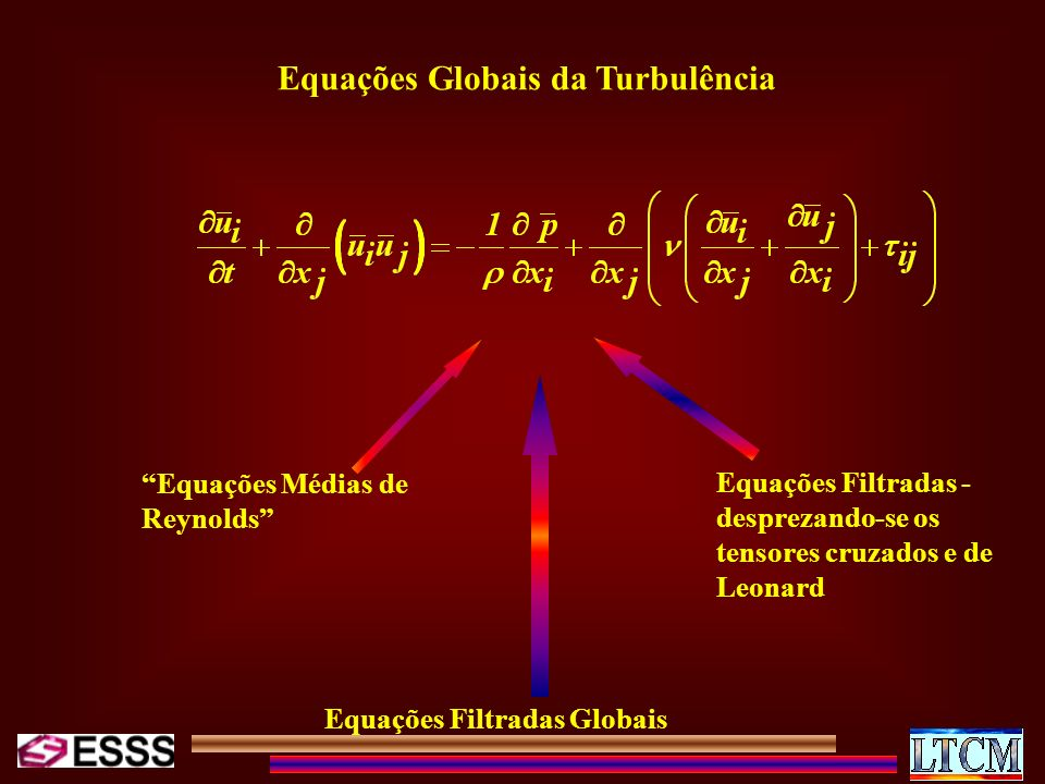 Equações Médias de Reynolds Equações Filtradas Globais Equações Filtradas - desprezando-se os tensores cruzados e de Leonard Equações Globais da Turbu