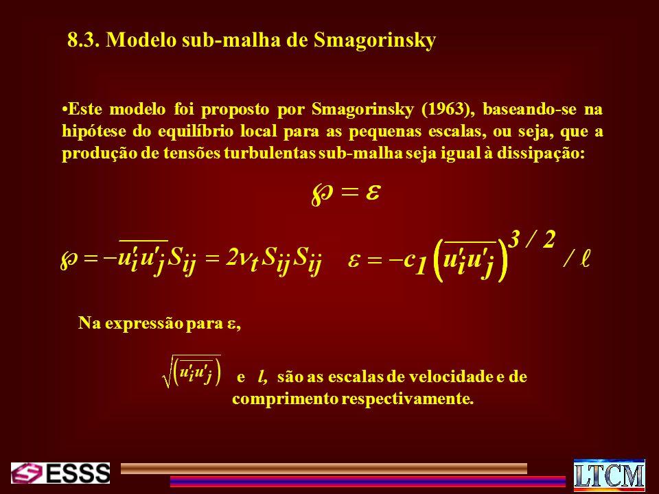 8.3. Modelo sub-malha de Smagorinsky Este modelo foi proposto por Smagorinsky (1963), baseando-se na hipótese do equilíbrio local para as pequenas esc