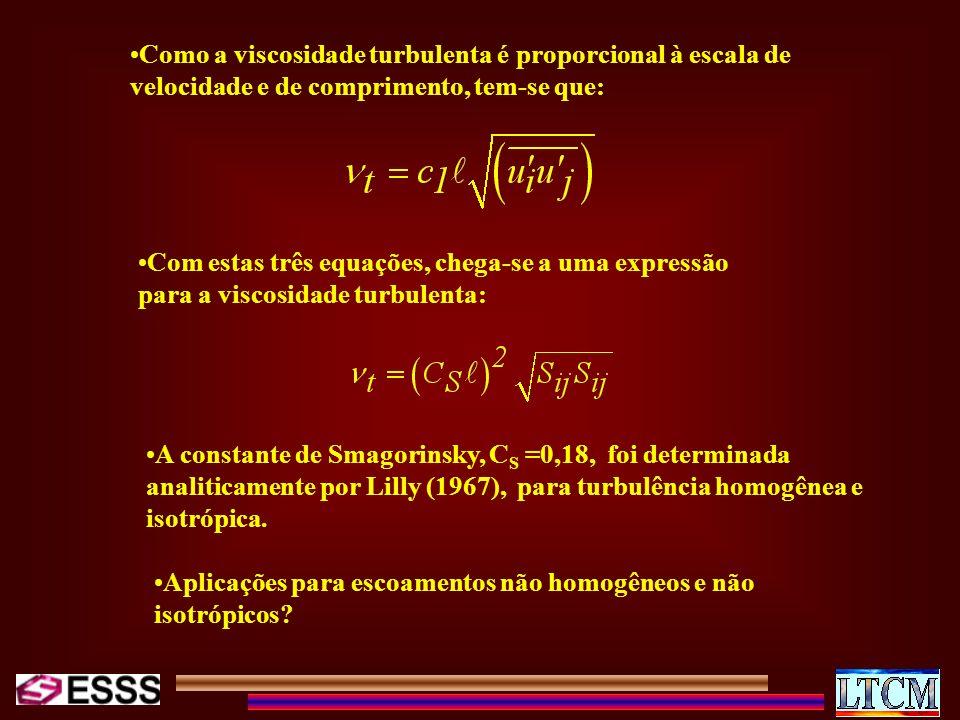 Como a viscosidade turbulenta é proporcional à escala de velocidade e de comprimento, tem-se que: Com estas três equações, chega-se a uma expressão pa
