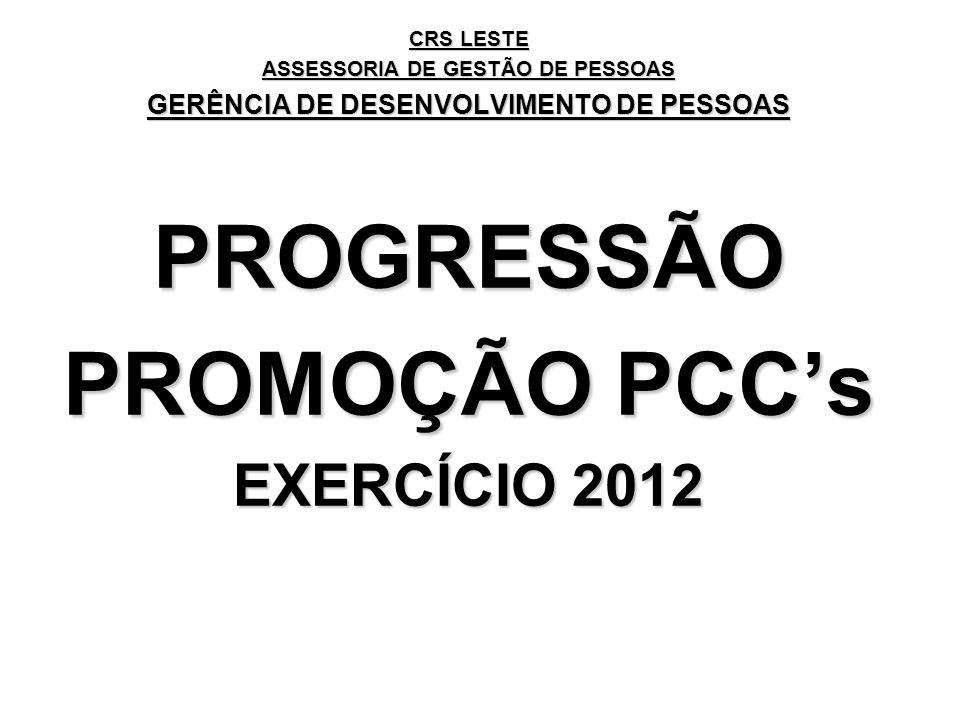 CRS LESTE ASSESSORIA DE GESTÃO DE PESSOAS GERÊNCIA DE DESENVOLVIMENTO DE PESSOAS PROGRESSÃO PROMOÇÃO PCCs EXERCÍCIO 2012