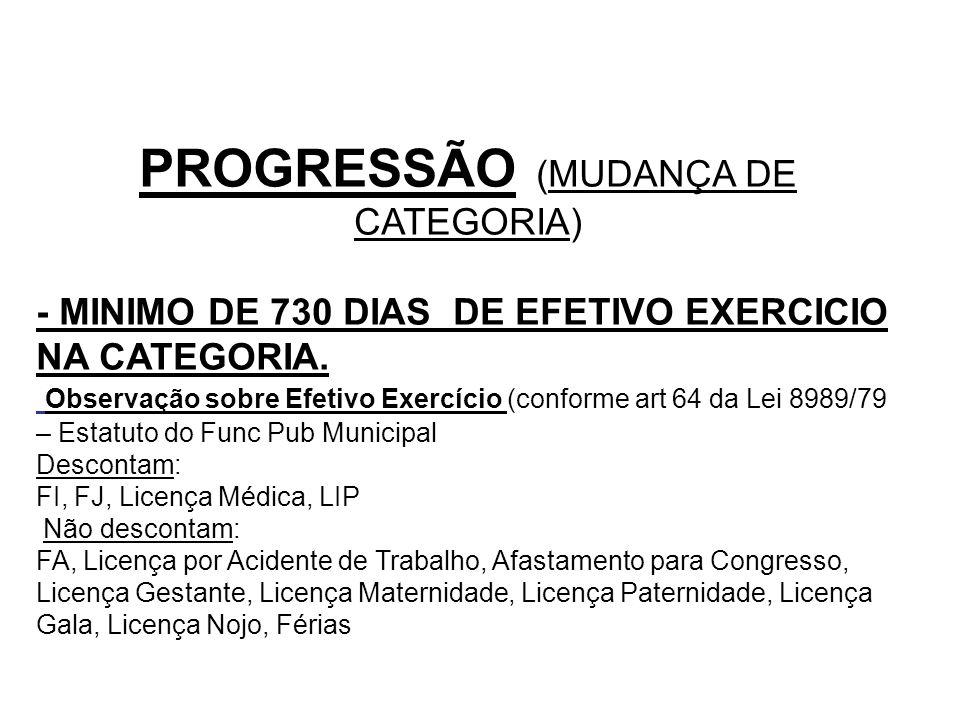PROGRESSÃO (MUDANÇA DE CATEGORIA) - MINIMO DE 730 DIAS DE EFETIVO EXERCICIO NA CATEGORIA. Observação sobre Efetivo Exercício (conforme art 64 da Lei 8