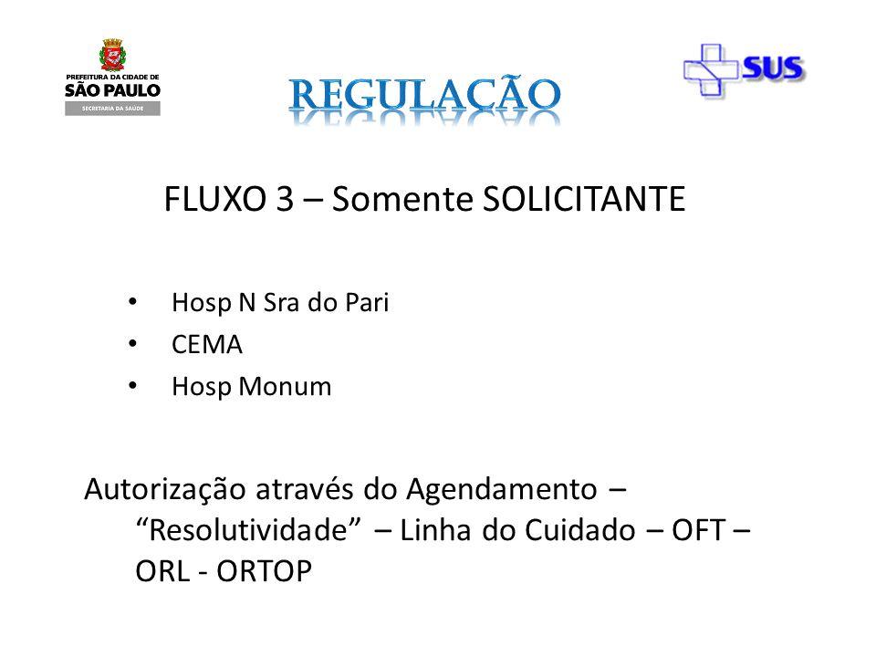 FLUXO 3 – Somente SOLICITANTE Hosp N Sra do Pari CEMA Hosp Monum Autorização através do Agendamento – Resolutividade – Linha do Cuidado – OFT – ORL -