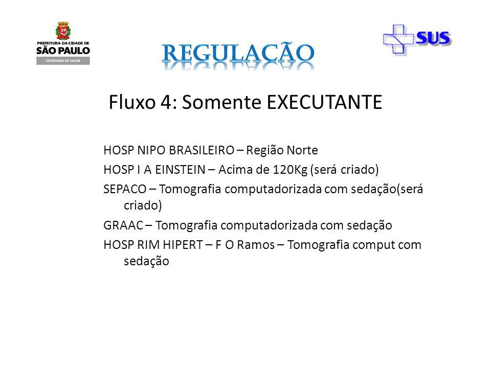 Fluxo 4: Somente EXECUTANTE HOSP NIPO BRASILEIRO – Região Norte HOSP I A EINSTEIN – Acima de 120Kg (será criado) SEPACO – Tomografia computadorizada c