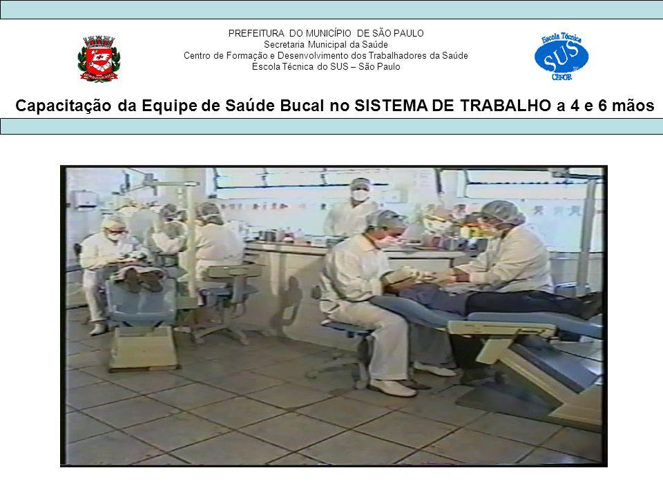 PREFEITURA DO MUNICÍPIO DE SÃO PAULO Secretaria Municipal da Saúde Centro de Formação e Desenvolvimento dos Trabalhadores da Saúde Escola Técnica do SUS – São Paulo Capacitação da Equipe de Saúde Bucal no SISTEMA DE TRABALHO a 4 e 6 mãos