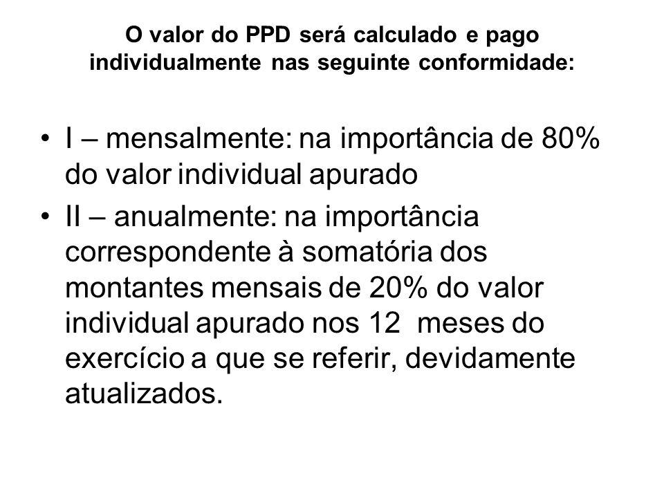 O valor do PPD será calculado e pago individualmente nas seguinte conformidade: I – mensalmente: na importância de 80% do valor individual apurado II