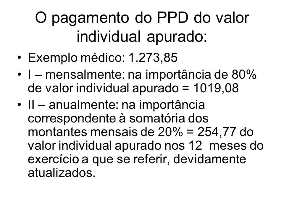 O pagamento do PPD do valor individual apurado: Exemplo médico: 1.273,85 I – mensalmente: na importância de 80% de valor individual apurado = 1019,08