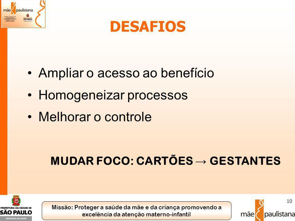Missão: Proteger a saúde da mãe e da criança promovendo a excelência da atenção materno-infantil 10 DESAFIOS Ampliar o acesso ao benefício Homogeneiza